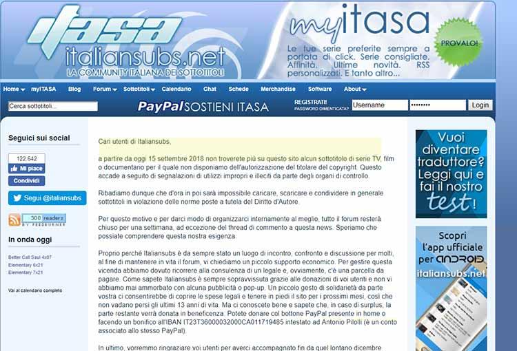 Italian Subs Portale Web in bilico tra pirateria e legalità dal 15 settembre CHIUDE .